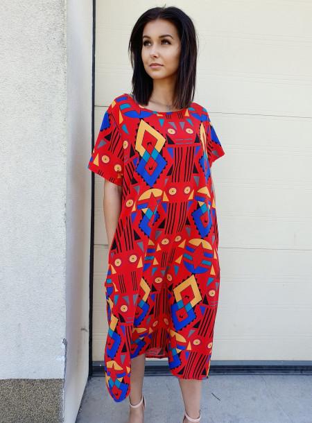 Sukienka 89602 czerwony size +