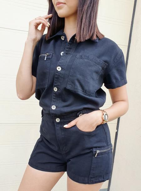 Kombinezon jeans 002 czarny