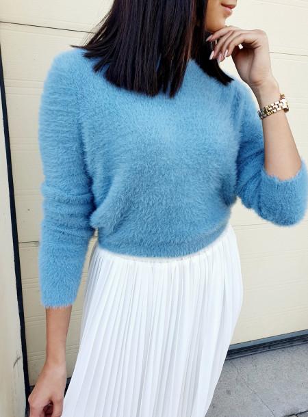 Sweter włochaty 3175 niebieski