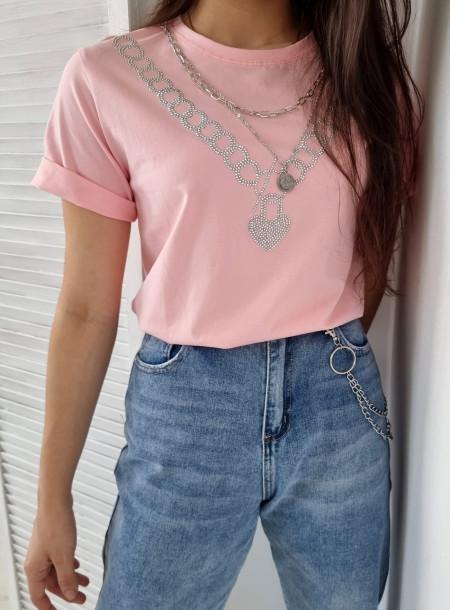 T-shirt łańcuch 383 róż