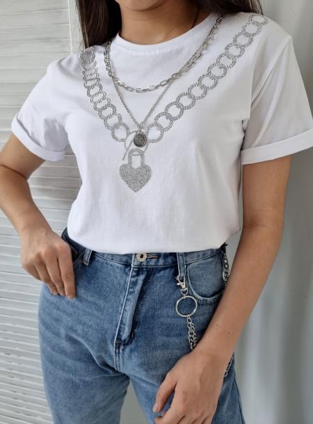 T-shirt łańcuch 383 biały