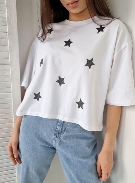 T-shirt gwiazdki 9068 biały