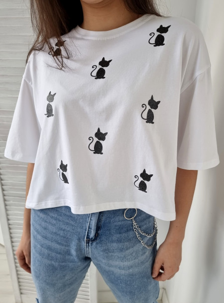T-shirt koty 9069 biały
