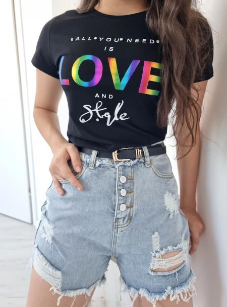 T-shirt love 9025 czarny