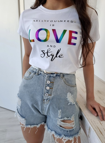 T-shirt love 9025 biały