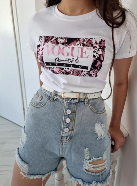T-shirt 9036 biało-różowy