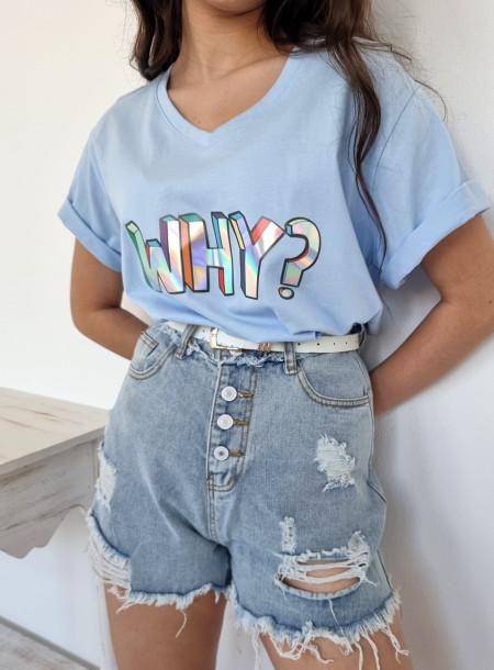 T-shirt why 1565 niebieski