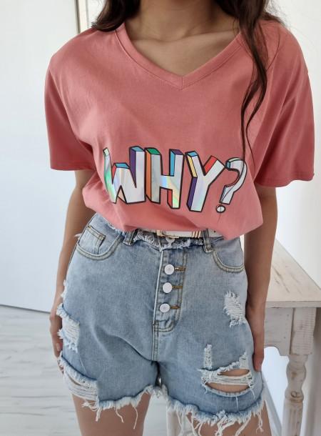 T-shirt why 1565 różowy