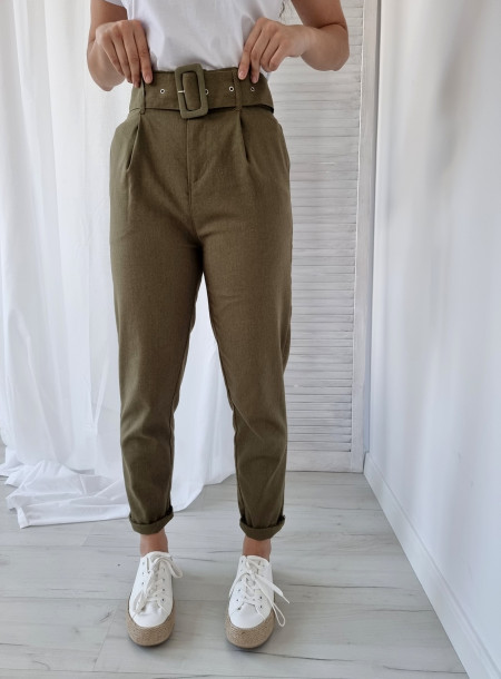 Spodnie len 87250 khaki