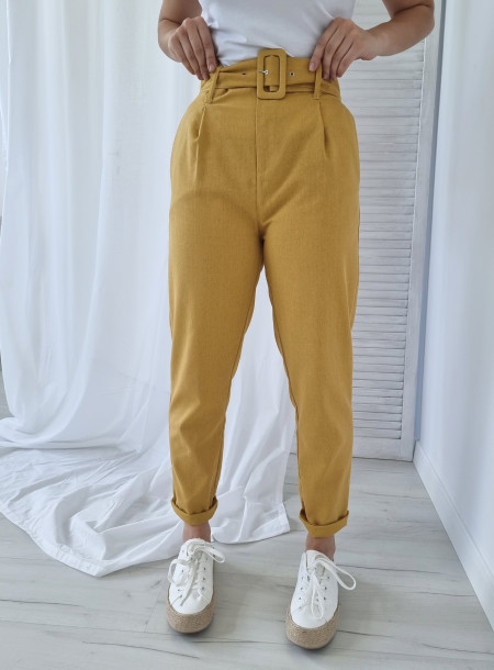 Spodnie len 87250 żółte