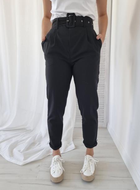 Spodnie len 87250 nero