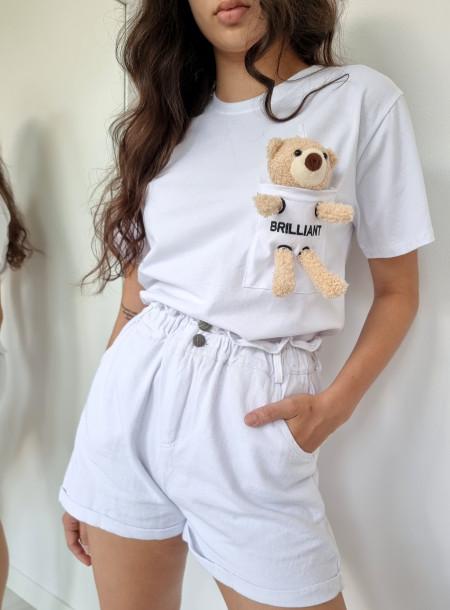 T-shirt miś 3726 biały