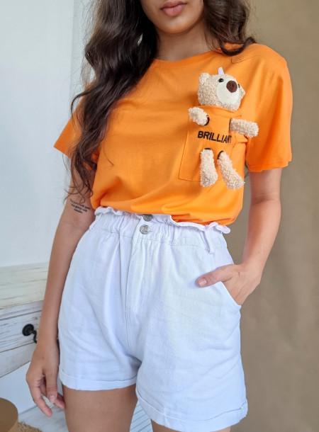 T-shirt miś 3726 pomarańczowy