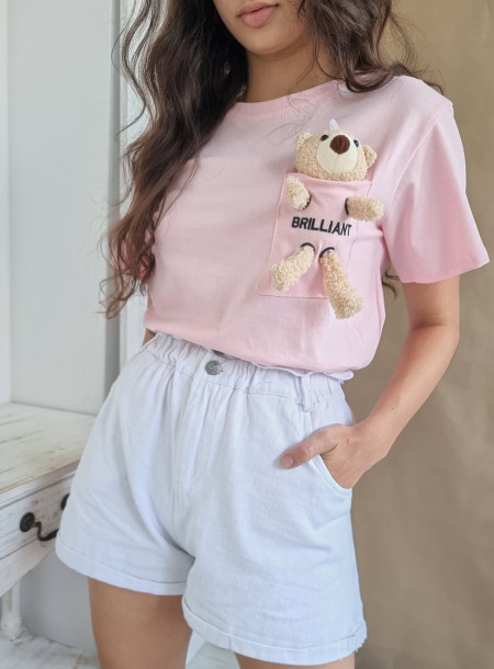 T-shirt miś 3726 puder