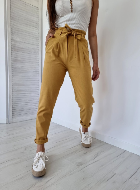 Spodnie len 86504 żółte