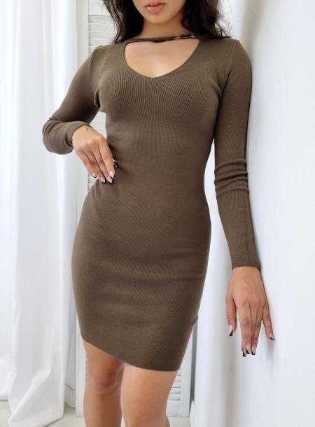 Sukienka dzianina 5826 khaki