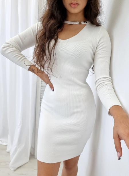 Sukienka dzianina 5826 biała
