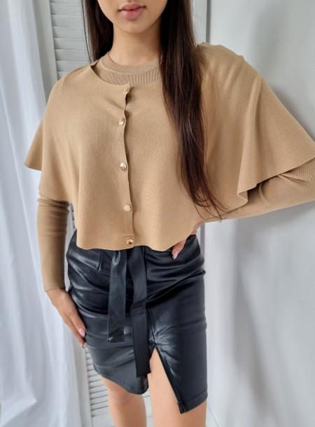 Sweter z pelerynką 529 beżowy