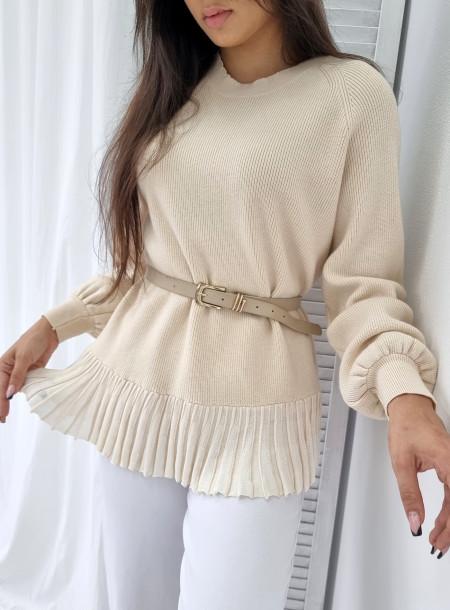 Sweter prążek 213 jasny beż