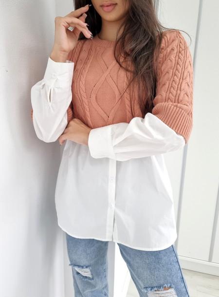 Sweter z koszulą 221 różowy