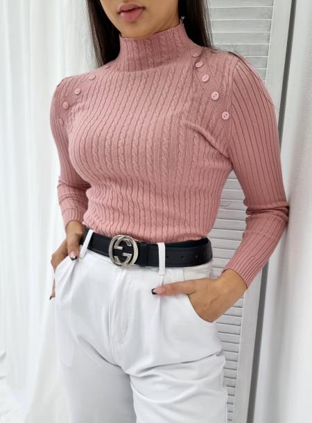 Sweter półgolf 0081 pudrowy