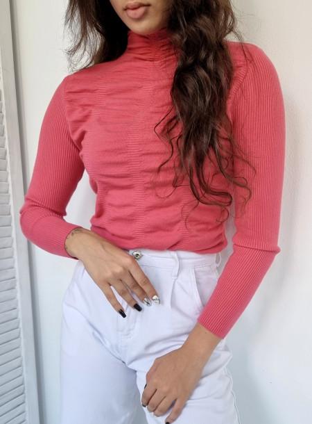 Sweter półgolf 136 różowy