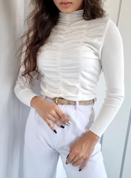 Sweter półgolf 136 biały