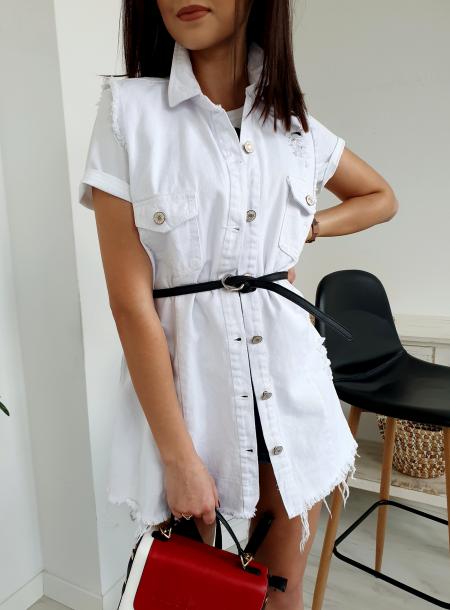 Kamizelka jeans 2018-685 biały